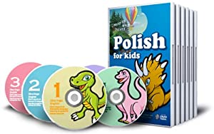 Polish for Kids - Learning Polish for Children DVD Set (5 DVDs), Polish flash cards (100 cards) and a poster