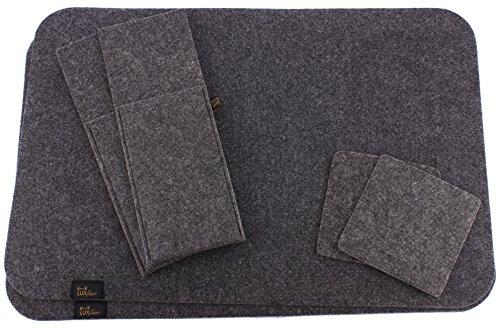 Edles-Filz-Platzset-fr-2-Personen-6-tlg-in-dunkelgrau-Tischset-inkl-Platzmatten-Glasuntersetzer-und-Bestecktaschen-waschbar-Moderne-Filz-Tischmatten-oder-Tischunterlagen-und-Untersetzer-als-tolles-Acc