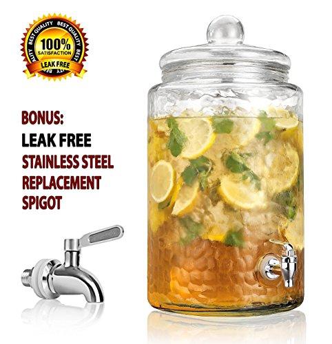 Durable Hammered Glass Large Beverage Dispenser - 3 Gallon Drink Jug - Stainless Steel Leak Free Spigot Included - Home Bar & Party Serveware (Steel Drink Dispenser compare prices)