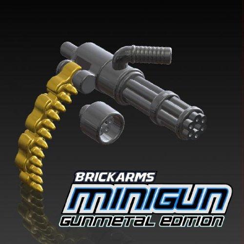BrickArms 2.5 Scale LOOSE Weapon Gunmetal Minigun with Brass Ammo Chain