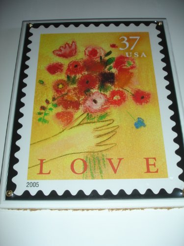 "2005 Licensed U.S. Postage Stamp Art - Crystal Art Satinwood LOVE 8"" X 10"" Plaque - Artist Vivienne Fleisher"