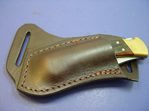 Custom Leather Left Hand Cross Draw Pocket Knife Sheath Far a Buck 110 Are 112 (Buck Custom Knives compare prices)