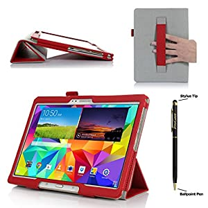 ProCase Samsung Galaxy Tab S 10.5 Case - Tri-Fold Folio Book Cover Case exclusive for 2014 Galaxy Tab S Tablet (10.5 inch, SM-T800) with Hand Strap, auto Sleep/Wake (Red)