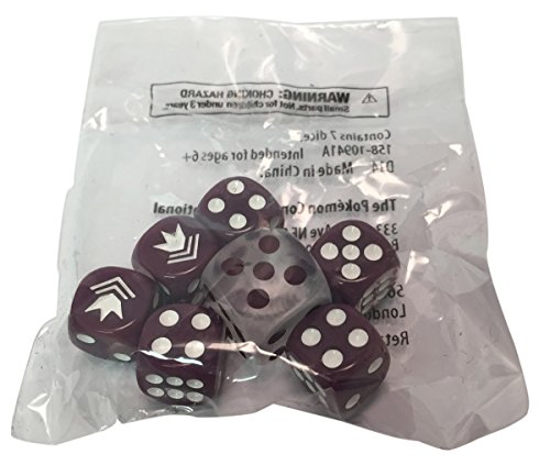 Pokemon Phantom Forces Dice, Sealed Set of 7 (Purple and White) from the Phantom Forces Elite Trainer Box