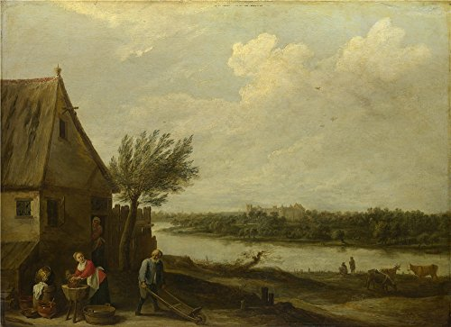 Polyster Canvas ,the Replica Art DecorativeCanvas Prints Of Oil Painting 'David Teniers The Younger A Cottage By A River With A Distant View Of A Castle ', 12 X 17 Inch / 30 X 42 Cm Is Best For Study Artwork And Home Artwork And Gifts