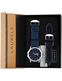 Laurels Invictus 6 Large Blue Dial Date Display Men's Watch With Additional Strap (Lo-Inc-603)