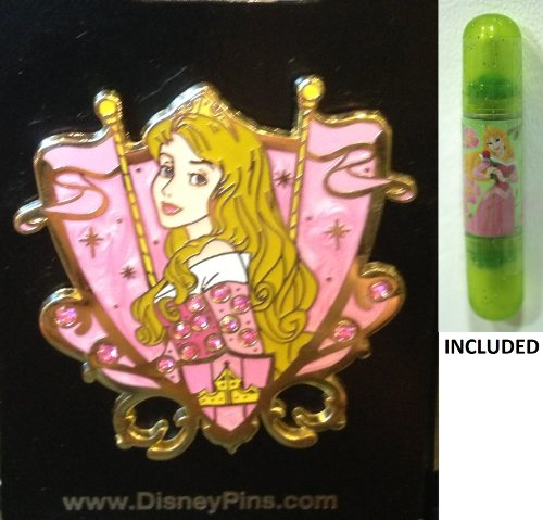 "Disney parks Sleeping Beauty's ""Aurora"" Princess Crest Trading Pin - Disney parks Exclusive & Limited Availability + Double Sided Princess Stamp Included"