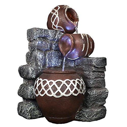 springbrunnen garten inkl wasserpumpe und led beleuchtung zimmerbrunnen innen und. Black Bedroom Furniture Sets. Home Design Ideas