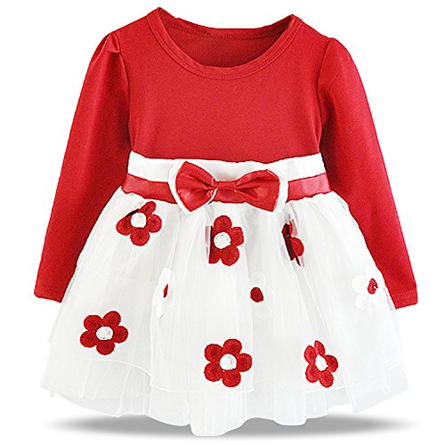NNJXD Baby Girl Long Sleeve Cotton Kids Casual School Dress for Children Size 6-9 Months Red