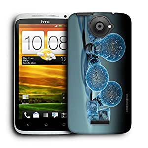 Snoogg Blue Bubble Designer Protective Back Case Cover For HTC ONE X