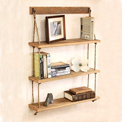 Hanging Reclaimed Wood Rope Shelf - Three Tier Shelf