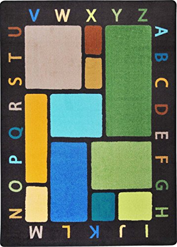 "Joy Carpets Kid Essentials Early Childhood Building Blocks Rug, Earthtone, 10'9"" x 13'2"" - 1"