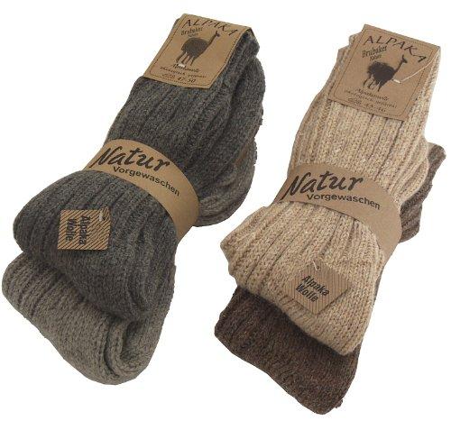 BRUBAKER 4 paia di calzini caldi e morbidi , in lana Alpaca miscelazione dei colori EU 43-46