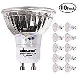 DiCUNO GU10 LED Bulbs 5W Pure White, 6000K, 500lm, 120 Degree Beam Angle, 50W Halogen Bulbs Equivalent, MR16 LED Light Bulbs, 10-Pack