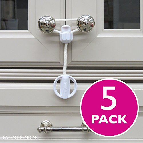 Kiscords Baby Safety Cabinet Locks for Knobs Child Safety Cabinet Latches for Home Safety Strap for Baby Proofing Cabinets Kitchen Door Rv No Drill No Screw No Adhesive / Color White/ 5 Pack Ez-twist (Latch For Kitchen Cabinets compare prices)