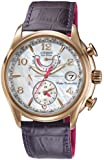 Citizen Watch World Time A.T Women's Quartz Watch with Mother of Pearl Dial Analogue Display and Purple Leather Strap FC0003-00D