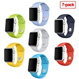 Apple Watch Band, 7Pack Otmake Soft Silicone Sport Style Replacement iWatch Strap for Apple Wrist Watch