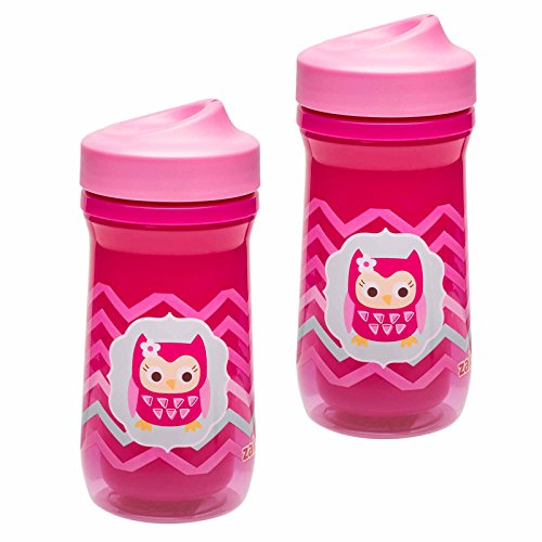 Zak! Designs Toddlerific Perfect Flo Sip Toddler Cup with Pink Owl, Double Wall Insulated Construction and Adjustable Flow Technology, Break-resistant and BPA-free Plastic, 8.7oz., set of 2