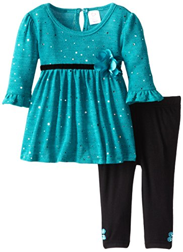 Youngland Baby-Girls Infant Brushed Knit Holofoil Dress With Legging, Teal/Black, 18 Months