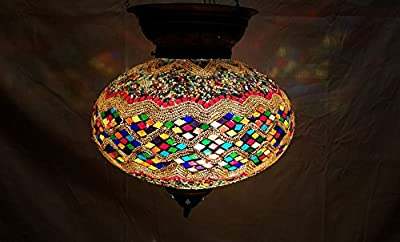 XXL colorful moroccan lantern mosaic hanging lamp glass chandelier light turkish candle holder m 40