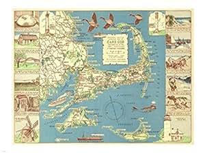 1940 coloniale artigiano decorative mappa di cape cod for Capo artigiano cod