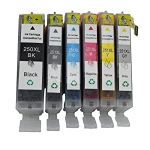 Generic 6Pack PGI-250XL CL-251XL Compatible Ink Cartridge for Canon MG6320