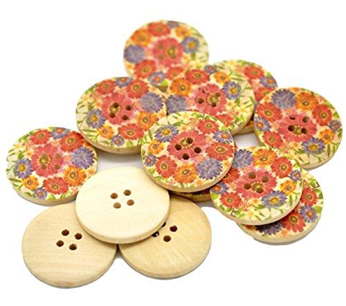 """Rund, Holz, 15 x 30 mm Buttons mit bunten Blumen, Optik, 4 Löcher, Schnittmuster für Kleidung Grußkarten """"b73"""