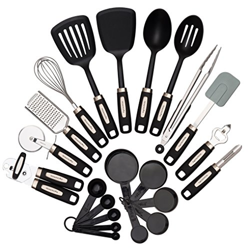 "HomeNative 22-Piece Kitchen Utensils Set – 7 Stainless Steel Cooking Tools, 4 Nylon Utensils (2 Spoons and 2 Turners), 5 Measuring Cups, 5 Measuring Spoons and One Silicone Spatula – comes with Bonus ""The Best You"" Ebook"
