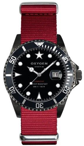 Oxygen - EX-D-MBB-40-RE - Diver - Montre Homme - Quartz Analogique - Cadran Noir - Bracelet Nylon Rouge