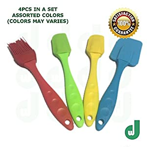 DW 4-Piece Rubber Spatula Brush Set Comfortable handle Silicone Head Heat Safe Gentle Nonstick Surfaces Baking