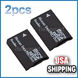 2x Micro Sd Sdhc Tf to Memory Stick Ms Pro Duo Card Reader PSP Adapter Converter