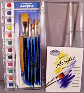 Deluxe beginner acrylic painting brush tool for Watercolor supplies for beginners