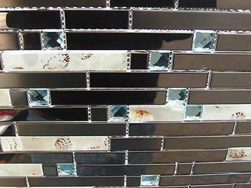 FLIESENTOPSHOP Glasmosaik Edelstahlmosaik Fliese messing kupfer + echte Muscheln in Kunstharz