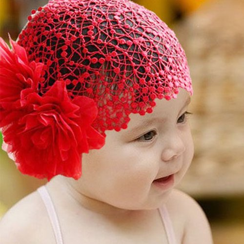 Baby Girl Red Peony Flower Lace Wide Headband Stretch Hair Band Headwear front-512869