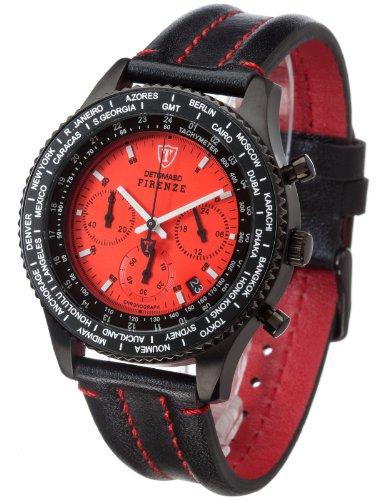 Detomaso Herren-Armbanduhr FIRENZE Chronograph Black Red Dial Leder Quarz