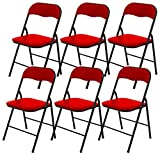 6 x DNY Red Padded, Folding, Office Desk Chair Seat Comfort Foldable Easy Carry & Storage, width 40cm