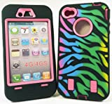IPhone 4/4S Rainbow Zebra Stripe by Armored CoreTM Fast Shipping from USA