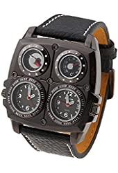 Oulm Adventure Men's Quartz Military Wrist Watch with Dual Movt Compass & Thermometer Function Round Black Case 25mm Leather Band