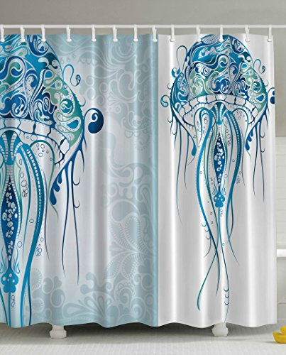 Sea Creatures Artistic Nautical Coastal Decor By Ambesonne Fabric Shower Curtain Ocean