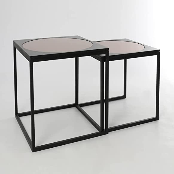 Tavolini vetro legno/MDF industriale 65x 65x 56–kulunka Deco