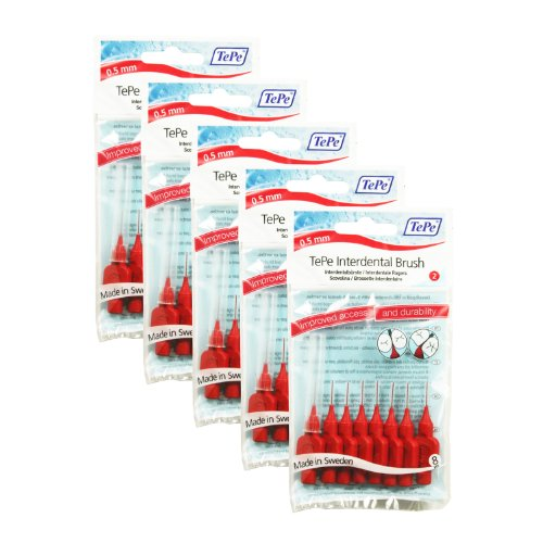 Tepe Red Interdental Brushes 0.5Mm - 5 Packets Of 8 (40 Brushes)