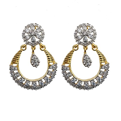 Sheetal Jewellery Silver & Golden Brass & Alloy Dangle & Drop Earrings For Women