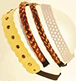 Fall Fashion Designer Headbands Set of 4 with Hair Braid Headband & Pearl Headband & Bohemian Headband Styles (Light)