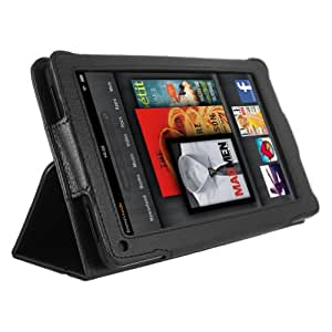 MiniSuit PU Leather journal book folio stand case cover for Amazon Kindle Fire Tablet (Black)