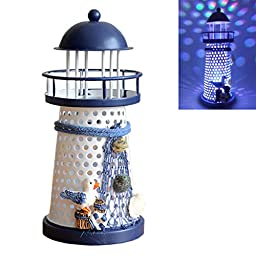 DE-Spark 7.5\'\' High Color Changing LED Lantern Night Light Metal Vintage Openwork Ocean Lighthouse Wedding Lamp, Mediterranean Style, Batteries Included, with Greeting Card, 1 Pcs