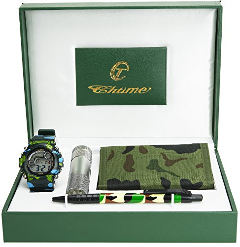 Gift set Kid teenager Watch Military Army Wallet Flaslight Pen Black green Christmas