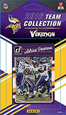 Minnesota Vikings 2016 Donruss NFL Football Factory Sealed Limited Edition 12 Card Complete Team Set with Adrian Peterson,Teddy Bridgewater,Legend Fran Tarkenton & Many More! Shipped in Bubble Mailer!