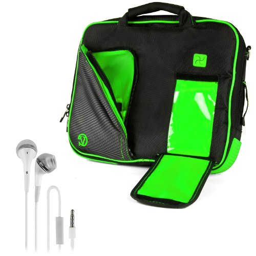 Vangoddy Pindar Sling - Black Lime Forest Green Pro Deluxe Shoulder Messenger Carrying Bag For Apple Macbook Air 11 Inch + White Hands-Free Earphones Headphones W/ Microphone