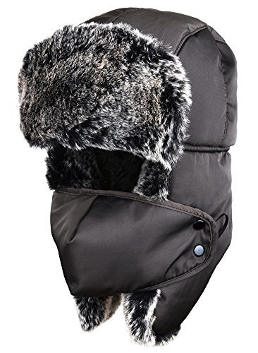 ODEMA Unisex Nylon Russian Style Winter Ear Flap Hat Coffee One Size