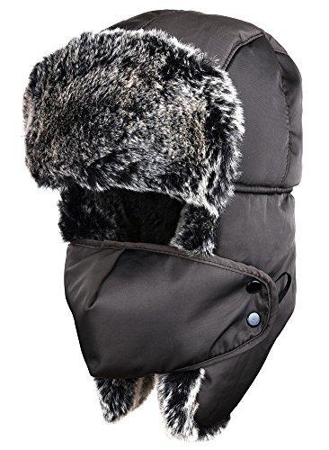 ODEMA Unisex Nylon Russian Style Winter Ear Flap Hat Coffee One Size